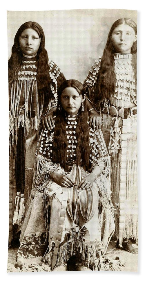 Young Kiowa Belles 1898 Hand Towel featuring the photograph Young Kiowa Belles 1898 by Unknown