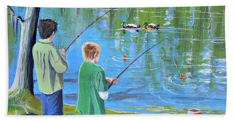 Fishing Bath Sheet featuring the painting Young Lads Fishing by Bill Holkham