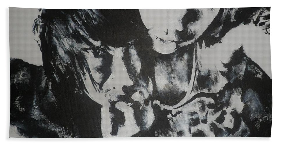Black Hand Towel featuring the painting Young Lovers by Cherise Foster