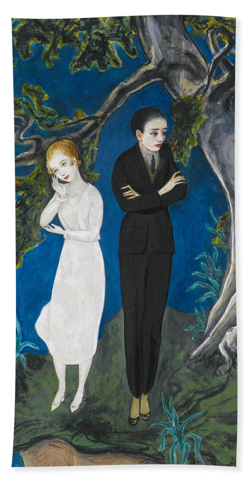 Nils Dardel Bath Sheet featuring the painting Young Man In Black. Girl In White by Nils Dardel