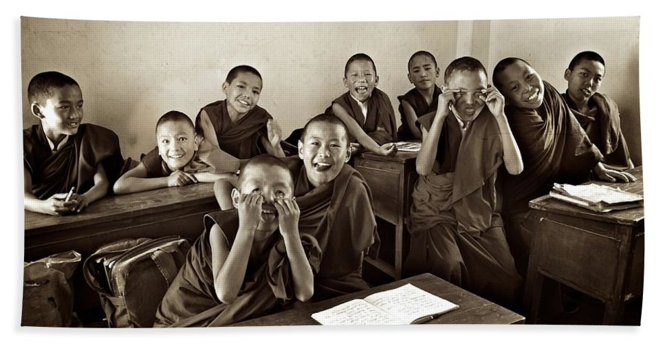 Children Hand Towel featuring the photograph Young Monks by Valerie Rosen