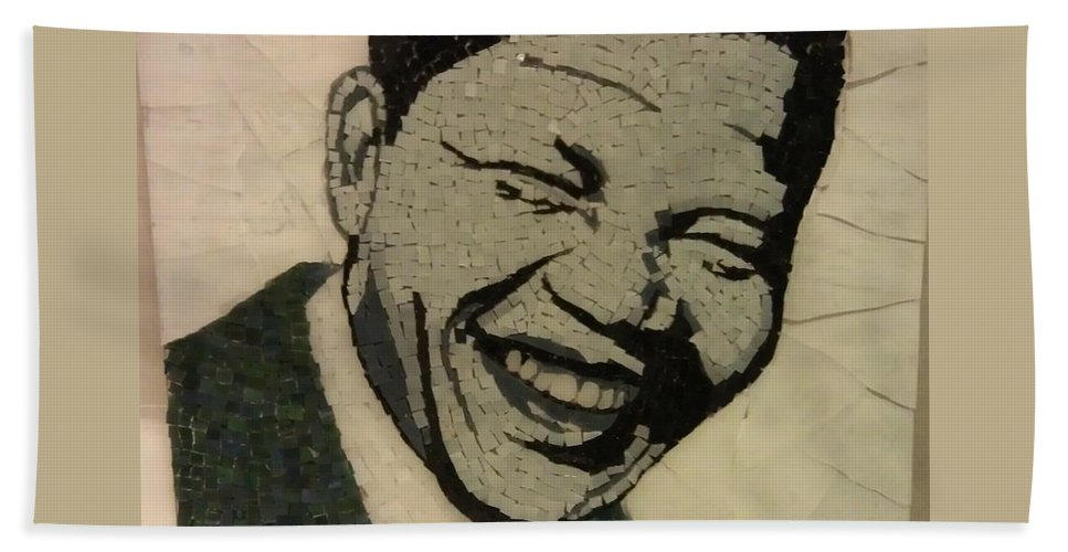The Young Nelson Mandela Bath Sheet featuring the mixed media Young Nelson Mandela by Dalene Smit