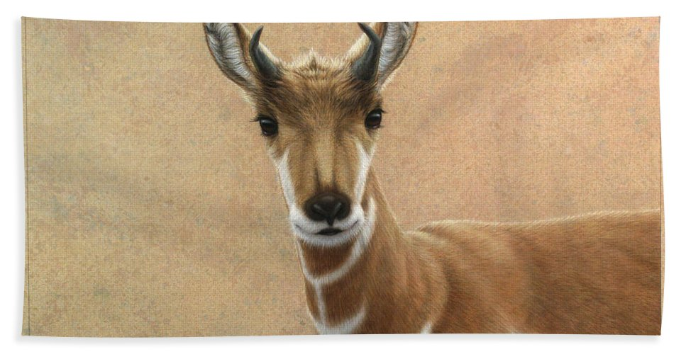 Cute Bath Sheet featuring the painting Young Pronghorn by James W Johnson