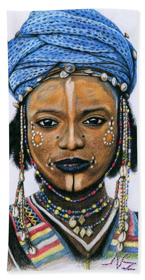 Face Hand Towel featuring the drawing Young Wodaabe Man by Nicole Zeug