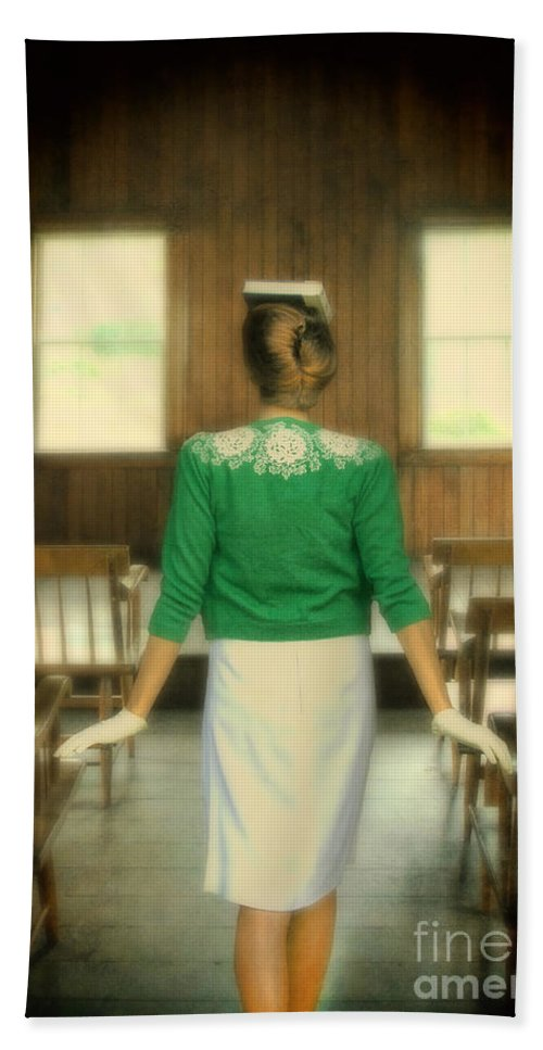 Lady Hand Towel featuring the photograph Young Woman Balancing A Book On Her Head by Jill Battaglia