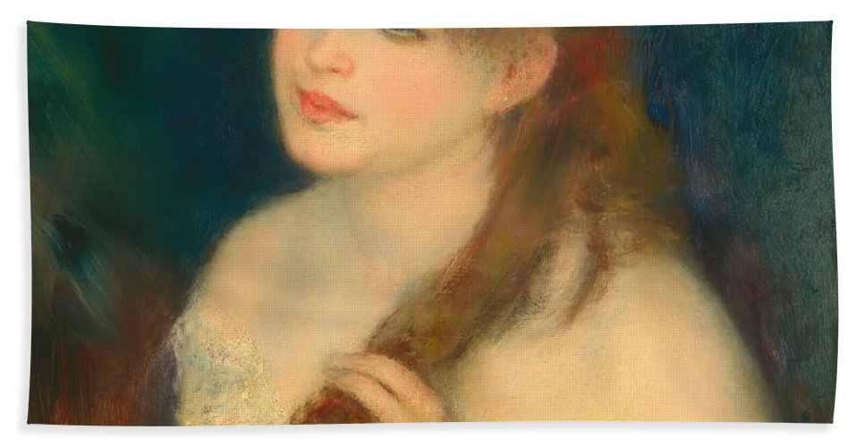 Woman Hand Towel featuring the painting Young Woman Braiding Her Hair by Mountain Dreams