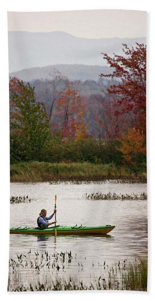 Adirondacks Bath Towel featuring the photograph Young Woman Kayaking Near Tupper Lake by Henry Georgi