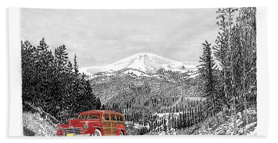 Just Won 1st Place In Selective Color Contest 9-5-17 Hand Towel featuring the painting 1946 Ford Special Deluxe Woody On Apache Summit by Jack Pumphrey