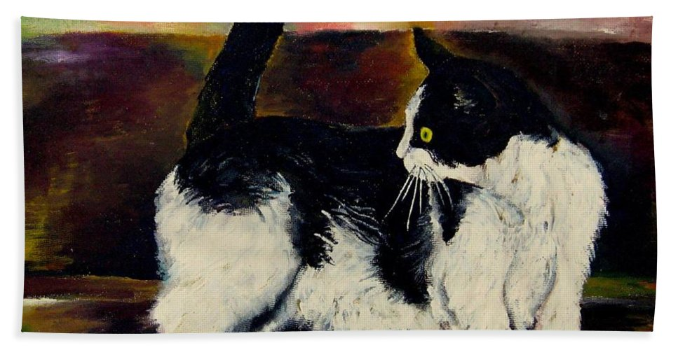 Cats Bath Sheet featuring the painting Your Pets Commission Me To Paint by Carole Spandau