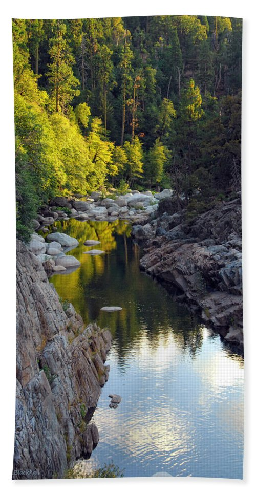 Yuba River Hand Towel featuring the photograph Yuba River Twilight by Donna Blackhall