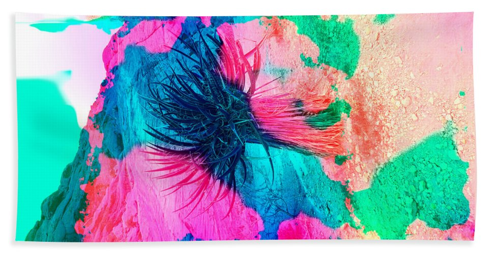 Abstract Hand Towel featuring the photograph Yucca Abstract Pink Blue Green by Alan Socolik