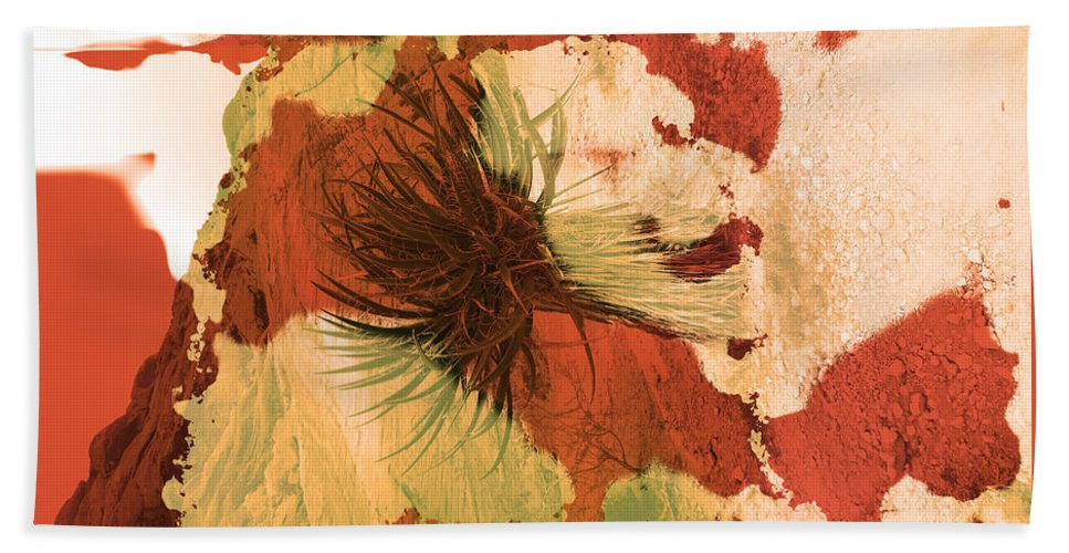Abstract Hand Towel featuring the photograph Yucca Abstract Warm by Alan Socolik