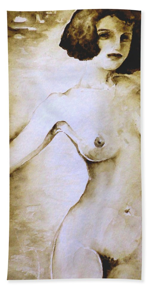 Portraits Bath Sheet featuring the painting Yuki by Miki De Goodaboom