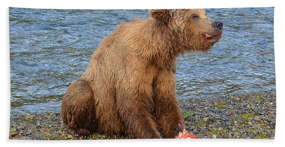 Alaska Hand Towel featuring the photograph Yummy Salmon by Joan Wallner