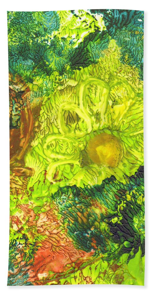 Flower Bath Sheet featuring the painting Yupo Flower2 by Phyllis Brady