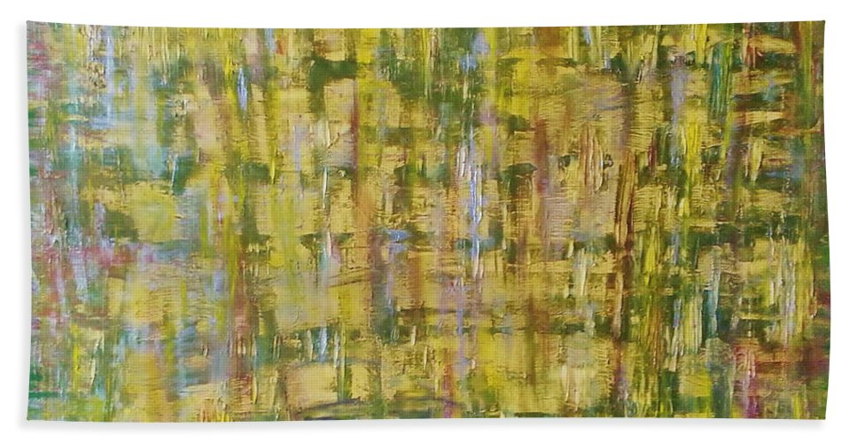 Abstract Painting Bath Sheet featuring the painting Z3 - She by Kunst mit Herz Art with Heart