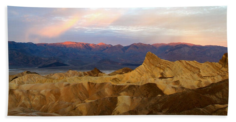 California Bath Sheet featuring the photograph Zabriskie Point Sunrise Death Valley by Ed Riche