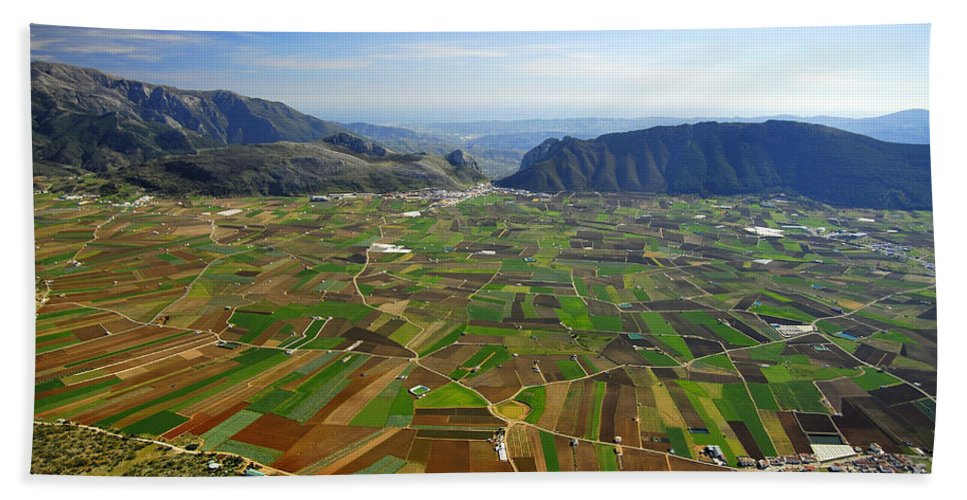 Aerial Photo Hand Towel featuring the photograph Zafarralla From The Air by Guido Montanes Castillo