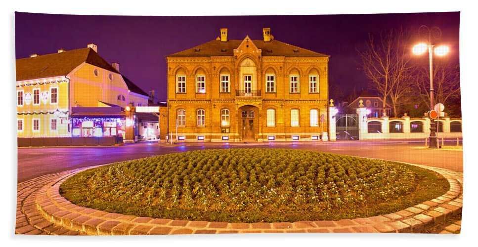 Zagreb Hand Towel featuring the photograph Zagreb Street Architecture Night Scene by Brch Photography