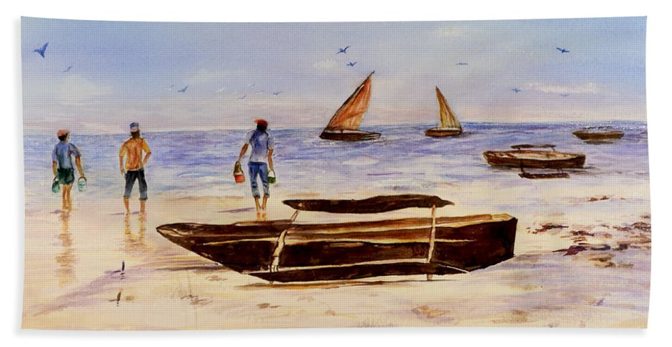 Beach Bath Sheet featuring the painting Zanzibar Forzani Beach by Sher Nasser