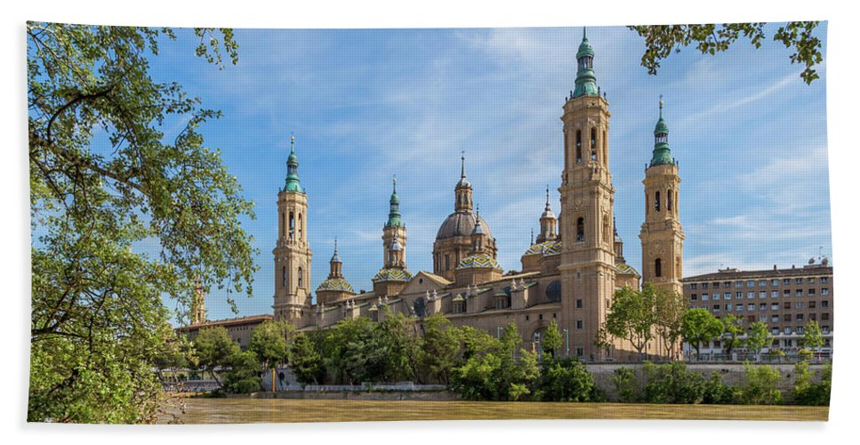 Photography Bath Towel featuring the photograph Zaragoza, Zaragoza Province, Aragon by Panoramic Images