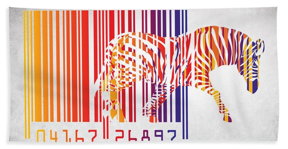 Zebra Hand Towel featuring the painting Zebra Barcode by Mark Ashkenazi
