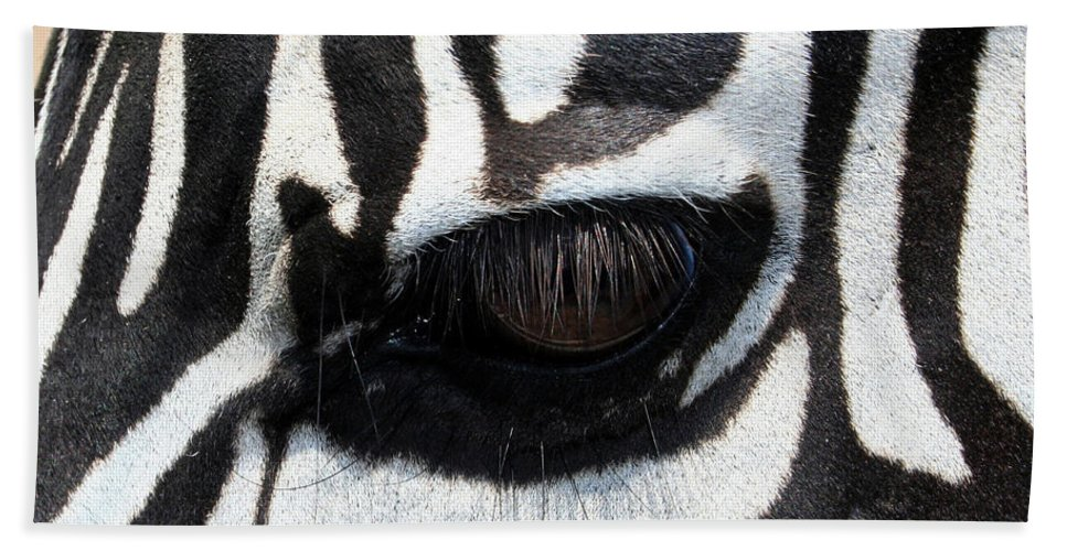 Zebra Bath Sheet featuring the photograph Zebra Eye by Linda Sannuti