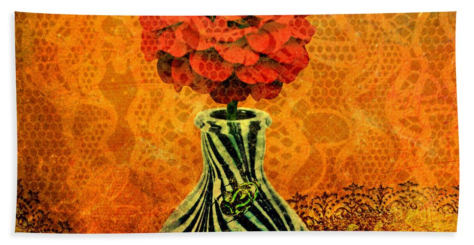 Flower Hand Towel featuring the painting Zebra Flower Vase by Ally White
