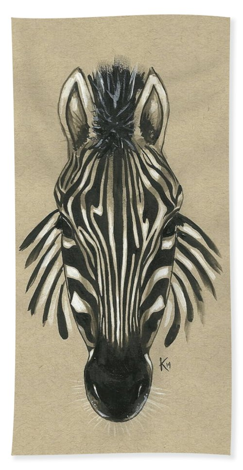 Zebra Hand Towel featuring the painting Zebra Front by Konni Jensen