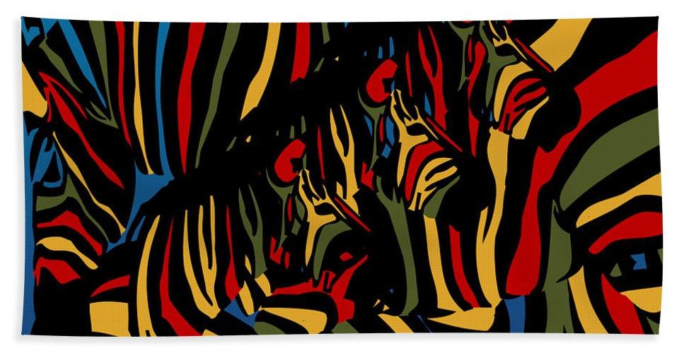 Zebra Hand Towel featuring the digital art Zebra In The Jungle 2 by Mark Ashkenazi