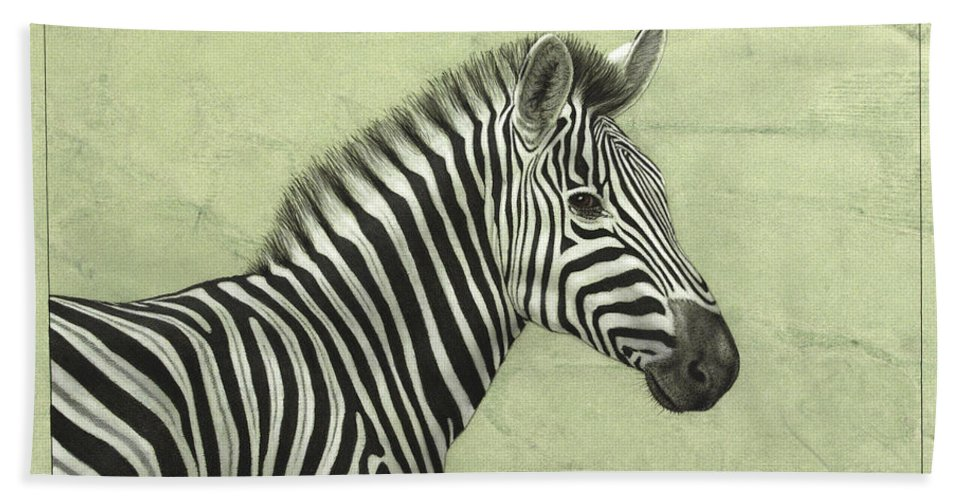 Zebra Bath Sheet featuring the painting Zebra by James W Johnson