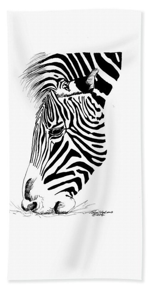 Zebra Bath Sheet featuring the drawing Zebra by Petra Stephens