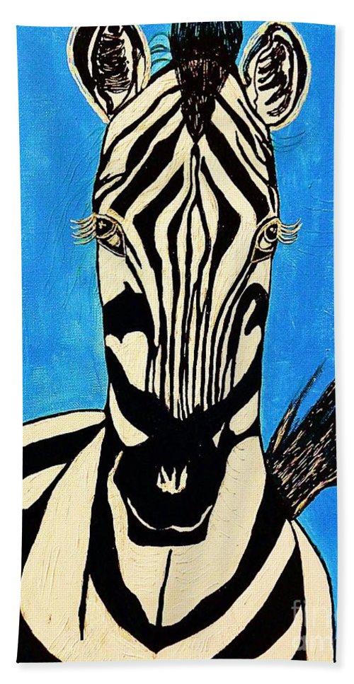 Zebra Portrait Hand Towel featuring the painting Zebra Portrait 5 by Saundra Myles