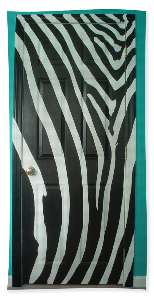 Design Bath Sheet featuring the painting Zebra Stripe Mural - Door Number 1 by Sean Connolly