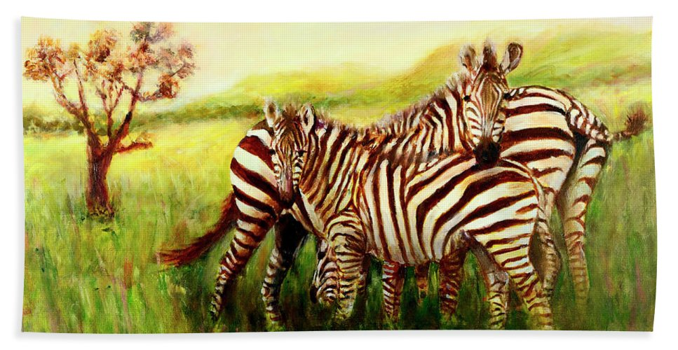 Zebra Bath Sheet featuring the painting Zebras At Ngorongoro Crater by Sher Nasser