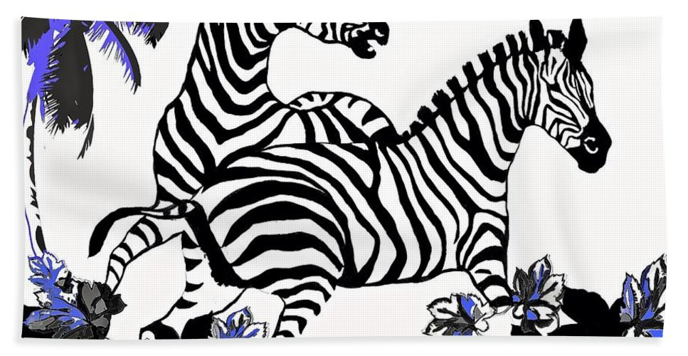 Zebras At Plat Bath Sheet featuring the painting Zebras At Play by Saundra Myles