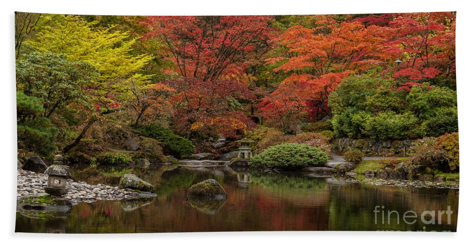 Garden Hand Towel featuring the photograph Zen Garden Reflected by Mike Reid