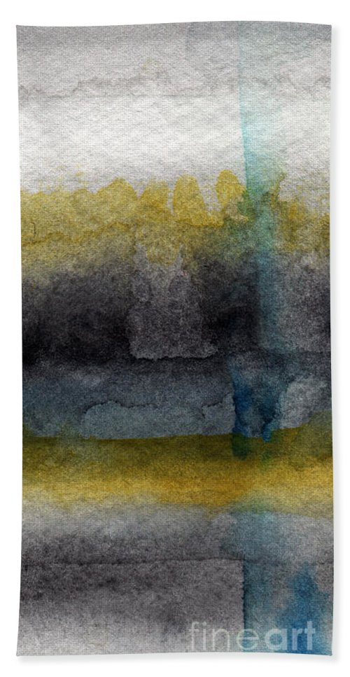 Abstract Hand Towel featuring the painting Zen Moment by Linda Woods