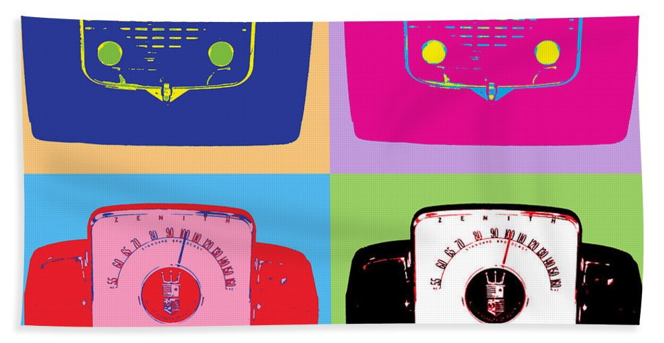 Pop Art Bath Sheet featuring the mixed media Zenith Transistors by Dominic Piperata