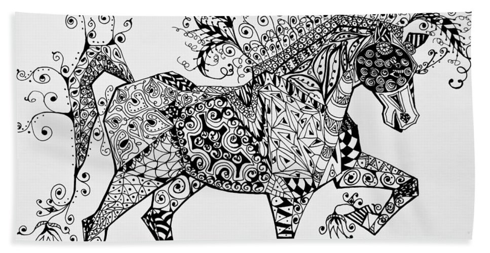 Horse Art Hand Towel featuring the drawing Zentangle Circus Horse by Jani Freimann