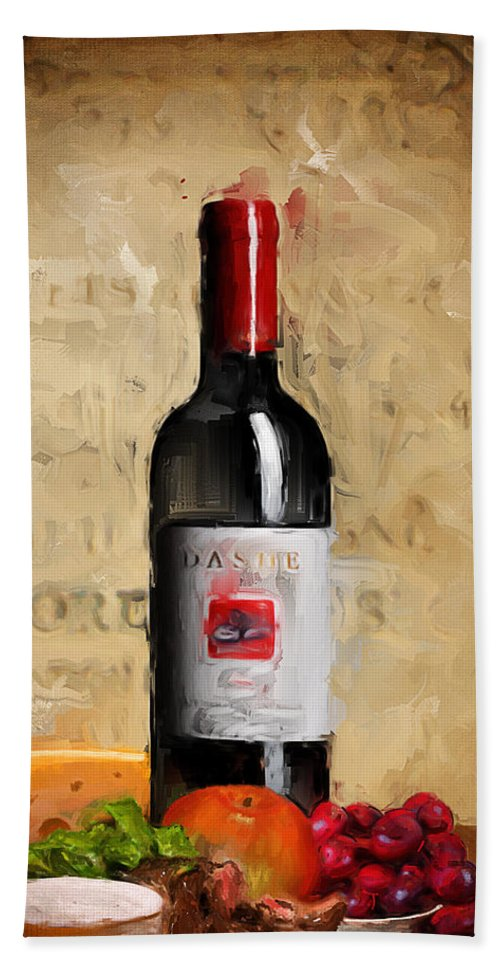Wine Hand Towel featuring the painting Zinfandel Iv by Lourry Legarde
