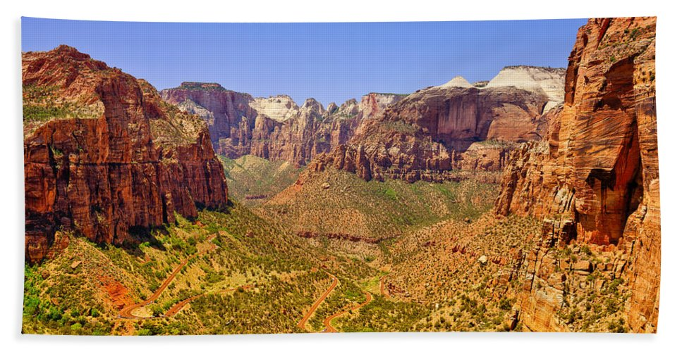 Zion Hand Towel featuring the photograph Zion Canyon by Greg Norrell