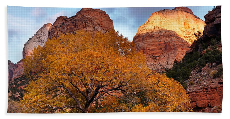 Autumn Hand Towel featuring the photograph Zion Cliffs Autumn by Leland D Howard