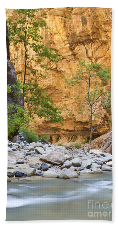 Zion Hand Towel featuring the photograph Zion Narrows by Bryan Keil