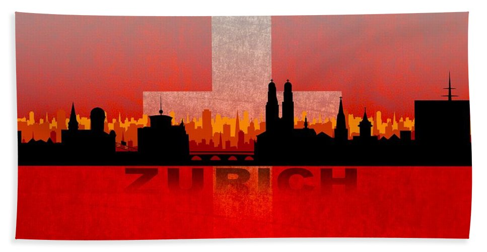 Architecture Hand Towel featuring the digital art Zurich City by Don Kuing