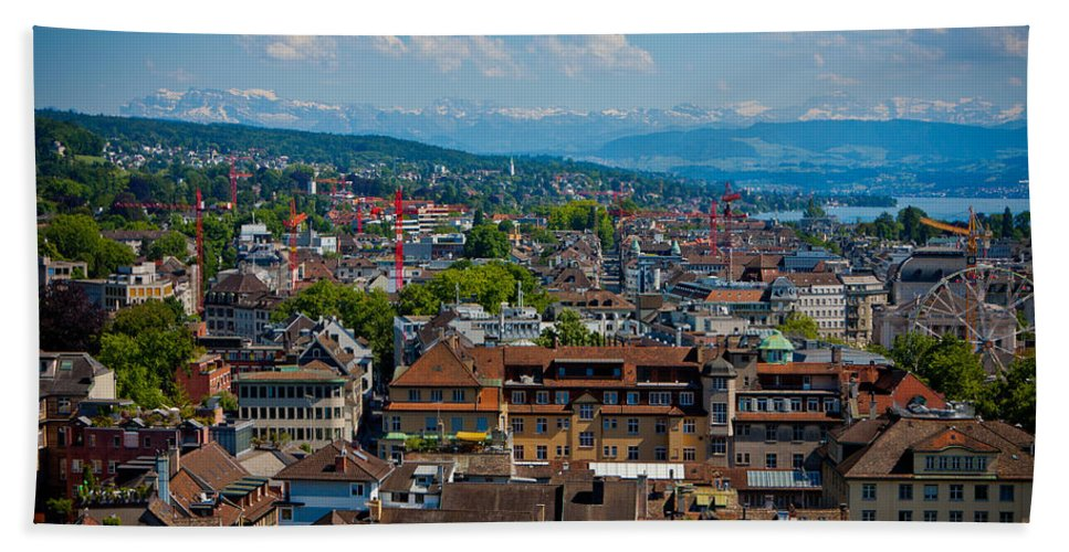 Switzerland Hand Towel featuring the photograph Zurich From The Grossmunster by Anthony Doudt