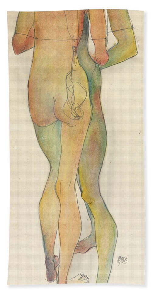 Egon Bath Towel featuring the painting Zwei Stehende Akte by Egon Schiele