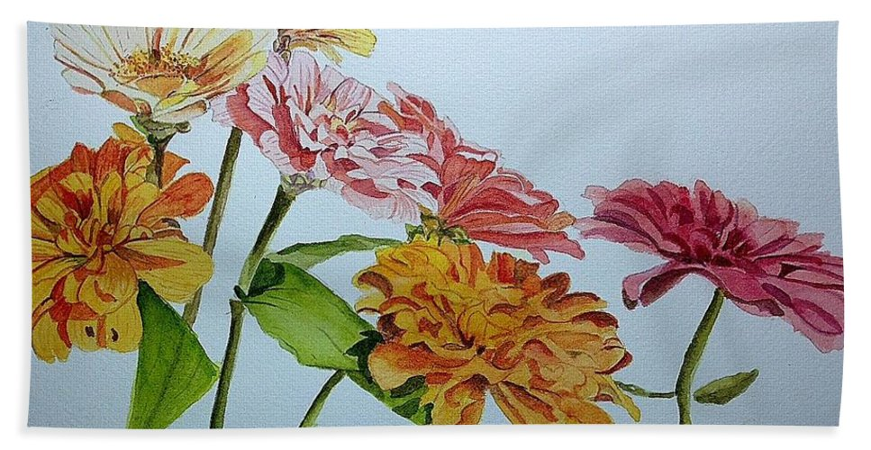 Zinnia Bath Sheet featuring the painting Zzzzz by Nicole Curreri