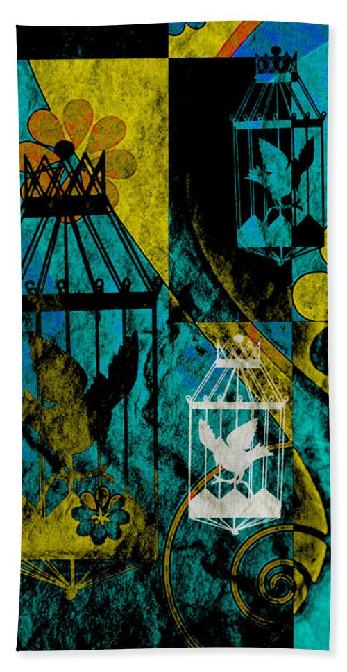 Silhouette Bath Sheet featuring the mixed media 3 Caged Birds Grunge by Angelina Vick
