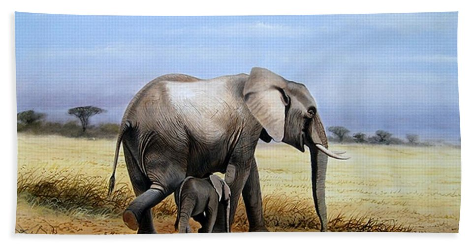 Elephants Bath Sheet featuring the painting Elephant And Her Child by Francis Njoroge